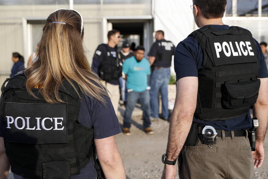 Agentes del gobierno detienen a un sospechoso durante un ataque de inmigración en el Centro de Flores y Jardines de Corso, el martes 5 de junio de 2018, en Castalia, Ohio. La operación es una de ...