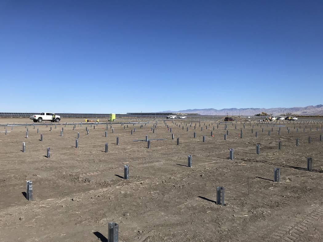 Una foto tomada en noviembre muestra la construcción de una matriz solar de 20 megavatios cerca de Fallon que entregará energía al nuevo desarrollo Wynn Paradise Park en Las Vegas. Wynn Resorts