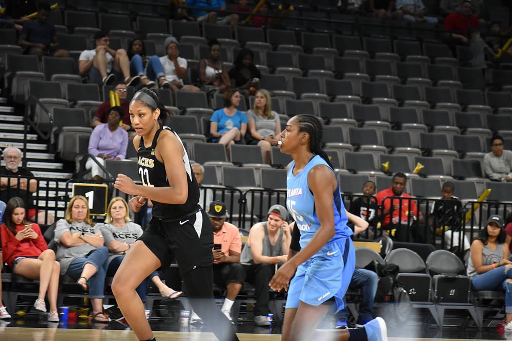 Pese a los malos resultados, A'ja Wilson (22) sigue siendo factor positivo para Las Vegas Aces. Viernes 8 de junio de 2018 en Mandalay Bay Events Center. Foto Anthony Avellaneda / El Tiempo.
