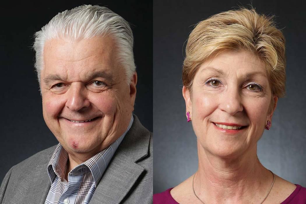 Steve Sisolak, izquierda, y Chris Giunchigliani, candidatos demócratas para gobernador. (Michael Quine / Las Vegas Review-Journal) @ Vegas88s