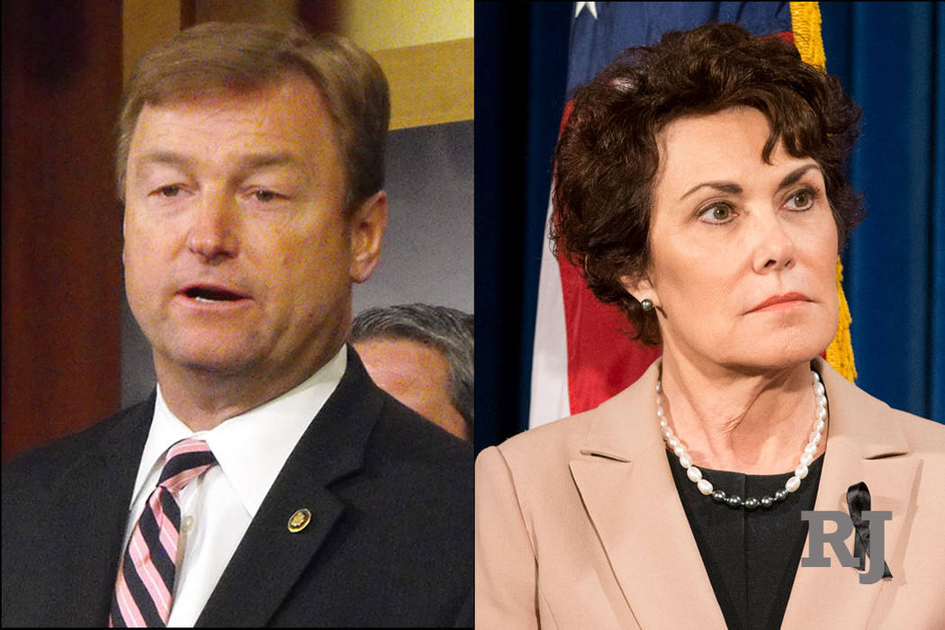 El senador republicano por los Estados Unidos Dean Heller y la representante demócrata de los Estados Unidos Jacky Rosen. (Las Vegas Review-Journal)