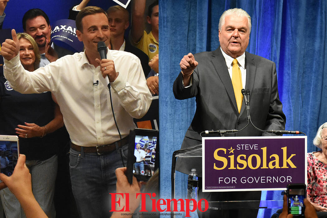 El republicano Adam Laxalt y el demócrata Steve Sisolak se ennfrentarán en la contienda electoral por la gubernatura de Nevada. Fotos El Tiempo.