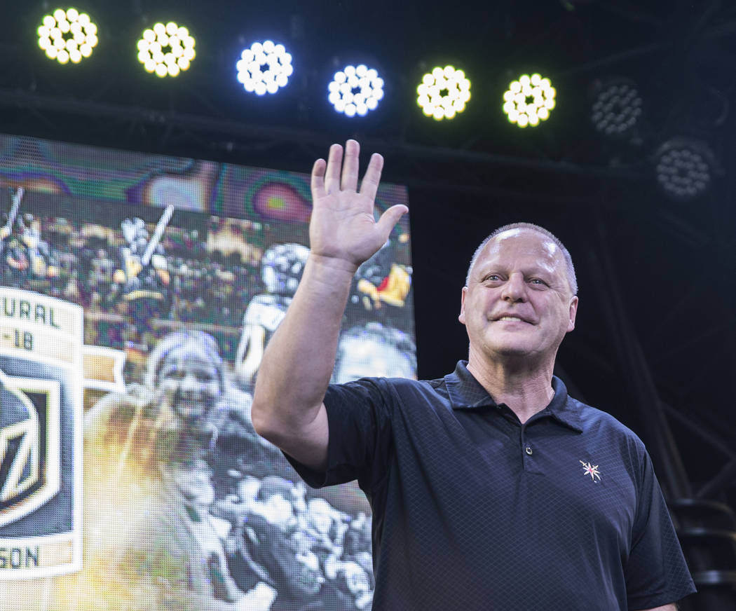 """Golden Knights coach Gerard Gallant waves at fans during """"Stick Salute to Vegas and Our Fans"""" on Wednesday, June 13, 2018, at the Fremont Street Experience, in Las Vegas. Benjamin Ha ..."""
