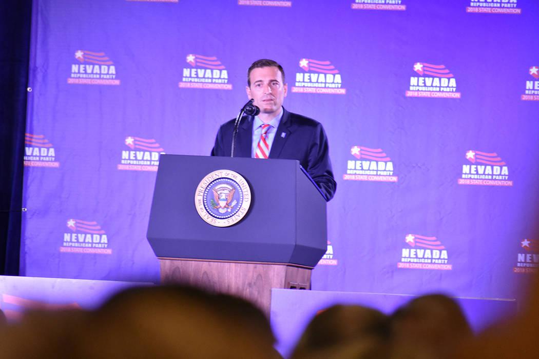 El candidato a la gubernatura de Nevada, Adam Laxalt, dijo que espera trabajar con el presidente Trump para mantener seguro al estado de Nevada. Sábado 23 de junio de 2018 en hotel y casino Sunco ...