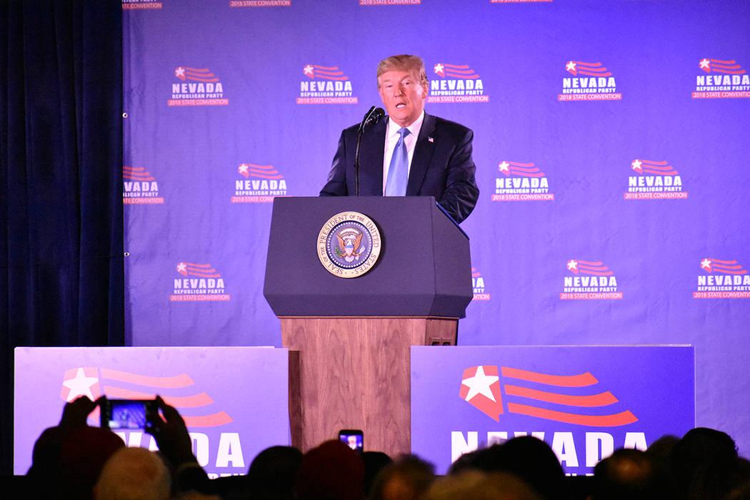 El presidente Donald Trump visitó Las Vegas para participar en la Convención Estatal del Partido Republicano 2018. Sábado 23 de junio de 2018 en hotel y casino Suncoast. Foto Anthony Avellaneda ...