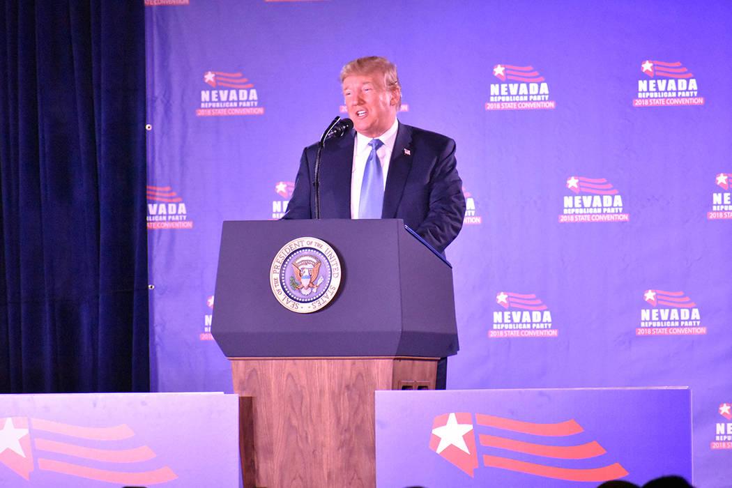 El presidente Donald Trump aseguró que el índice de desempleo para los hispanos es el más bajo del país. Sábado 23 de junio de 2018 en hotel y casino Suncoast. Foto Anthony Avellaneda / El Ti ...