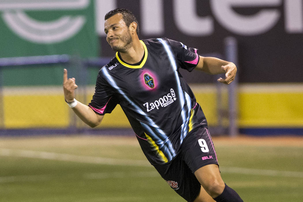Samuel Ochoa marcó 2 de los 4 goles que consiguió Lights FC. Sábado 16 de junio de 2018 en Estadio Cashman. Foto Richard Brian / Las Vegas Review-Journal.