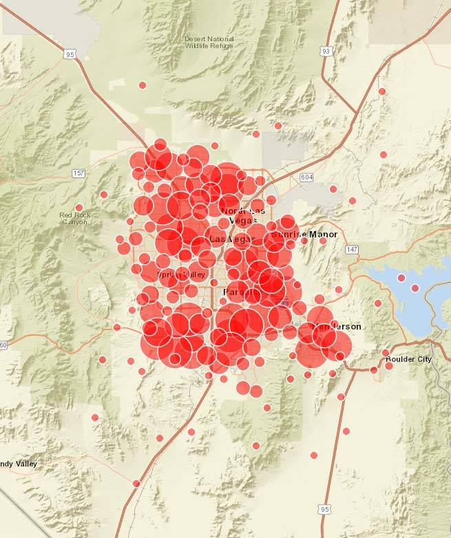 El Condado de Clark publicó un mapa que muestra la actividad e intensidad de los fuegos artificiales desde la noche del miércoles 4 de julio de 2018. (SIG del Condado de Clark)
