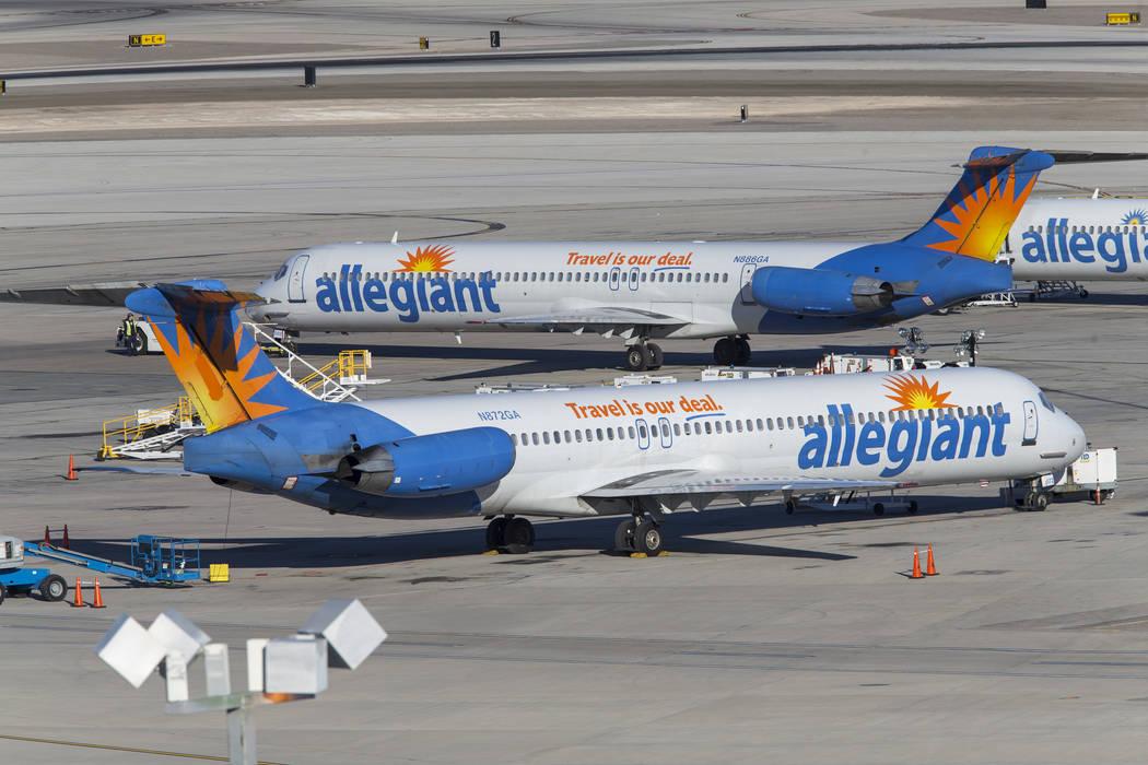 Aviones de pasajeros Allegiant Air en el aeropuerto internacional McCarran en Las Vegas. (Richard Brian / Las Vegas Review-Journal) @vegasphotograph