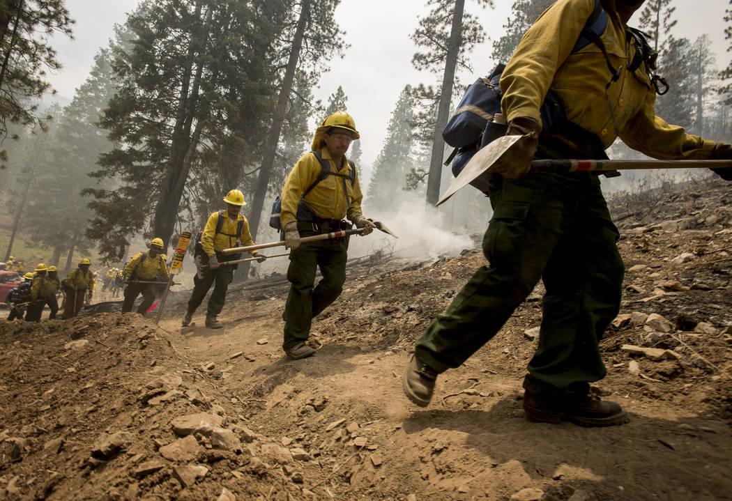 Bomberos Tipo 2 del Bosque Nacional Sequoia regresan para luchar contra el Carpenter 1 Fire después de un descanso en la subdivisión Rainbow en el monte. Charleston el martes, 9 de julio de 2013 ...