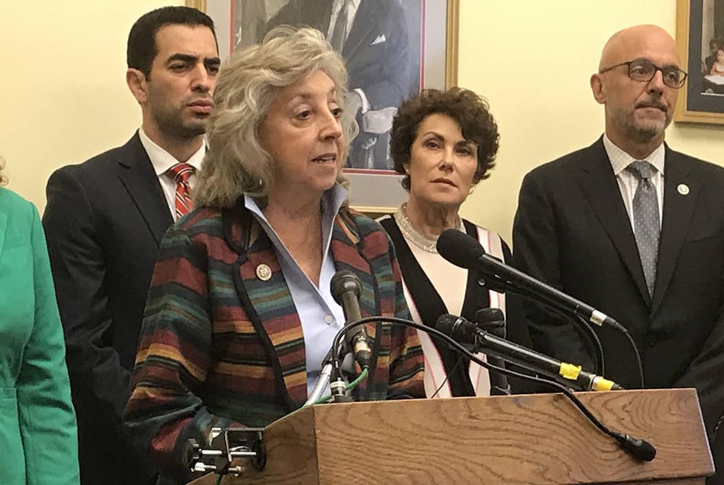 La representante Dina Titus, D-Nev., Revela una legislación para limitar los clips de municiones de alta capacidad en una conferencia de prensa en Capitol Hill. Con ella hay varios copatrocinador ...