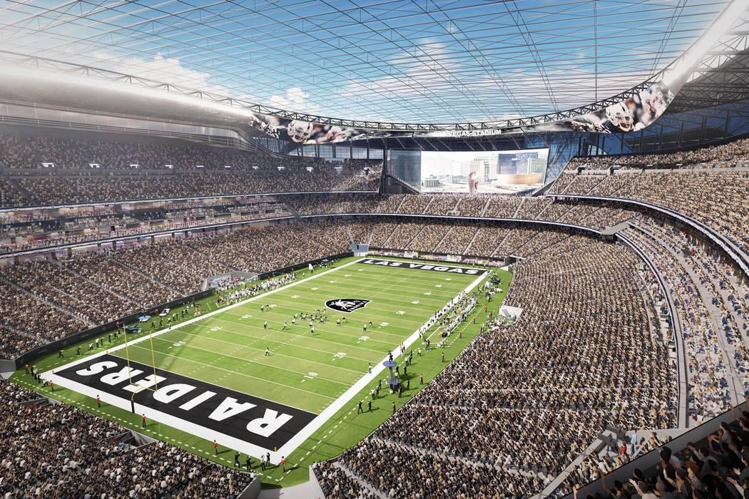 Una representación del proyecto del estadio Las Vegas Raiders. (Arquitectura MANICA)