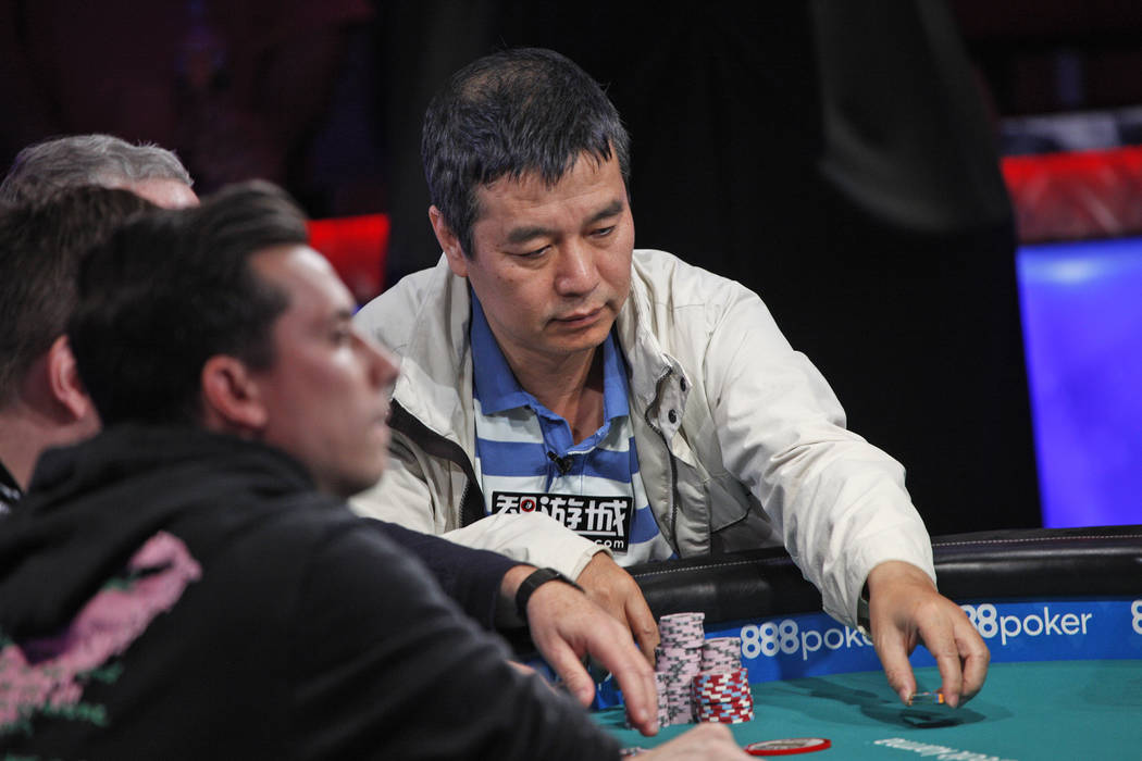 Yueqi Zhu hace una apuesta en el séptimo día de la World Series of Poker en el Río Convention Center en Las Vegas, miércoles 11 de julio de 2018. (Rachel Aston / Las Vegas Review-Journal) @roo ...