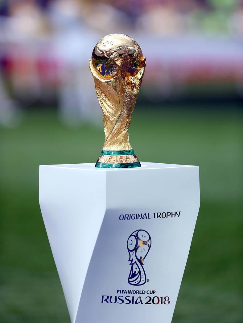 Moscú, Rus., 15 Jul 2018 (Notimex-Jorge Arciga).- El trofeo de la FIFA durante la gran final del Mundial Rusia 2018, encuentro que disputan las selecciones de Francia y Croacia, esta tarde en el ...