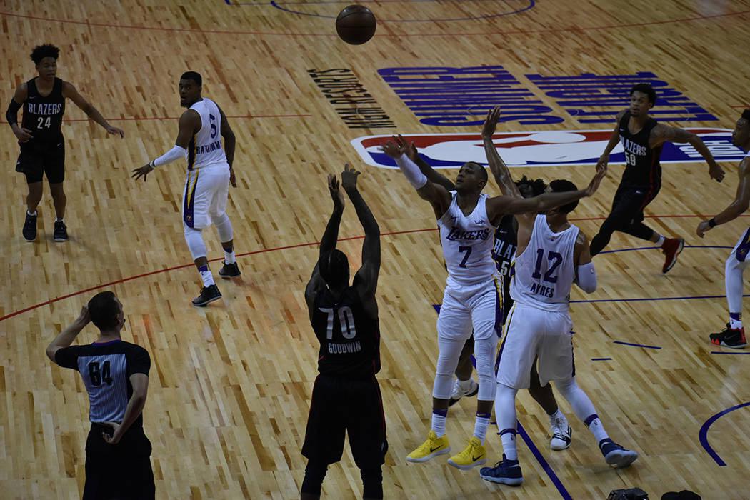 Portland Trail Blazers derrotó por contundente marcador de 91-73 a Los Ángeles Lakers en la final de la NBA Summer League. Martes 17 de julio de 2018 en Thomas & Mack Center de Las Vegas. Foto A ...