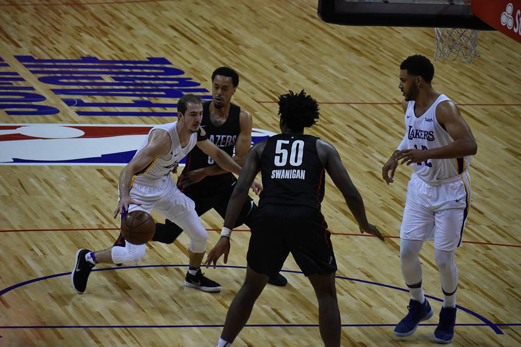 Portland Trail Blazers obtuvo el campeonato de la NBA Summer League tras derrotar a Los Ángeles Lakers. Martes 17 de julio de 2018 en Thomas & Mack Center de Las Vegas. Foto Anthony Avellaneda / ...