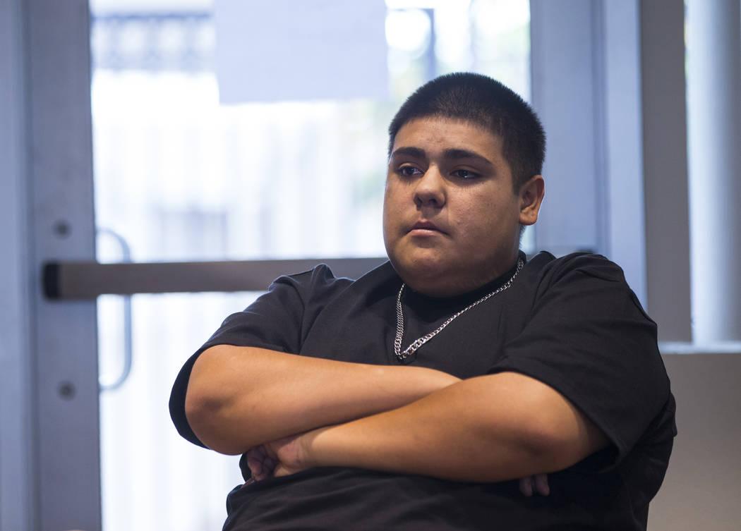 Isaías Gallegos habla sobre su madre, Adriann Gallegos, quien falleció en mayo pasado por complicaciones derivadas de un tiroteo en 2002, en Las Vegas el jueves 19 de julio de 2018. Chase Steven ...