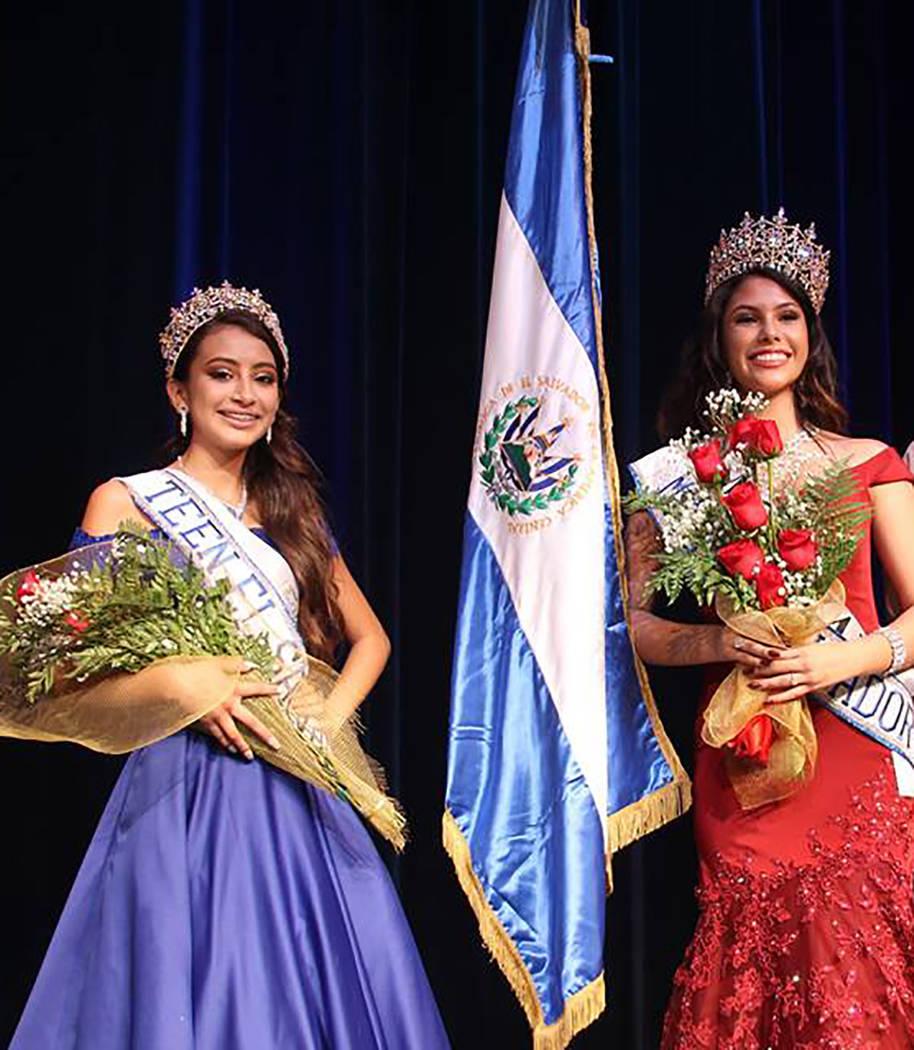 Miss El Salvador 2018 fue coordinado por Rhina Moreno, presidenta de la organización cultural Amigos Salvadoreños de Las Vegas. En la foto, las ganadoras Emely Hernández (en representación del ...