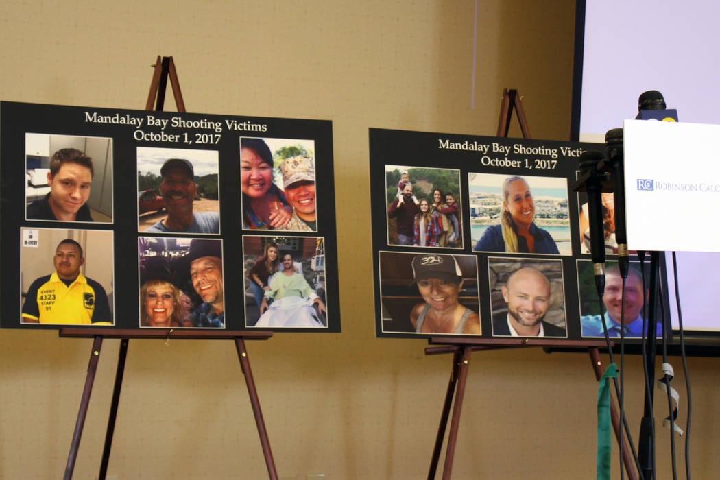 Los carteles que representan a las víctimas del tiroteo masivo del 1 de octubre en Las Vegas Strip se exhibieron en una conferencia de prensa para las víctimas el lunes 23 de julio de 2018 en el ...