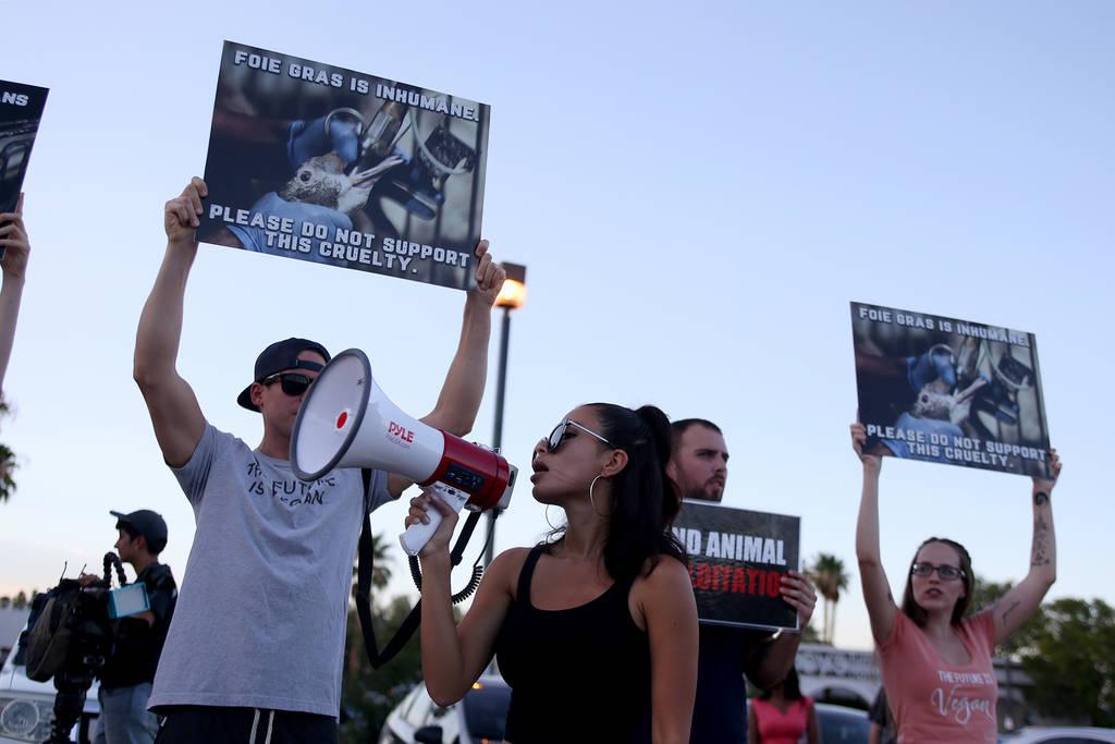 Lizette Reyes canta para Animal Action Las Vegas, un grupo vegano, en protesta por las prácticas de Sparrow + Wolf en Las Vegas, el domingo 22 de julio de 2018. (Rachel Aston / Las Vegas Review-J ...