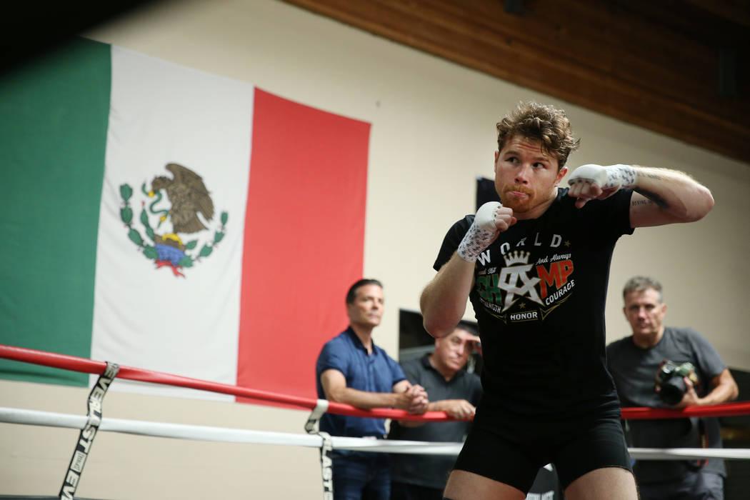"""El boxeador Saúl """"Canelo"""" Álvarez, se ejercita en su gimnasio en San Diego, California, el viernes 27 de julio de 2018. Erik Verduzco Las Vegas Review-Journal @Erik_Verduzco"""