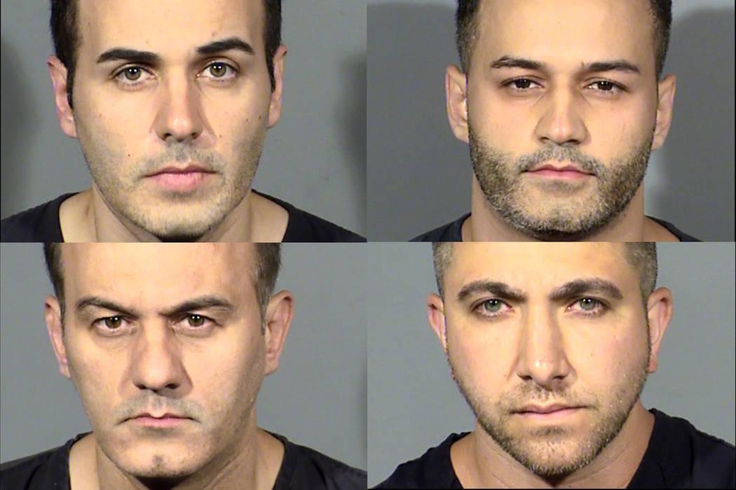 En sentido de reloj desde arriba a la izquierda: Sina Edalat, Poria Edalat, Ali Badkoobehi y Saman Edalat (Departamento de Policía Metropolitana de Las Vegas)