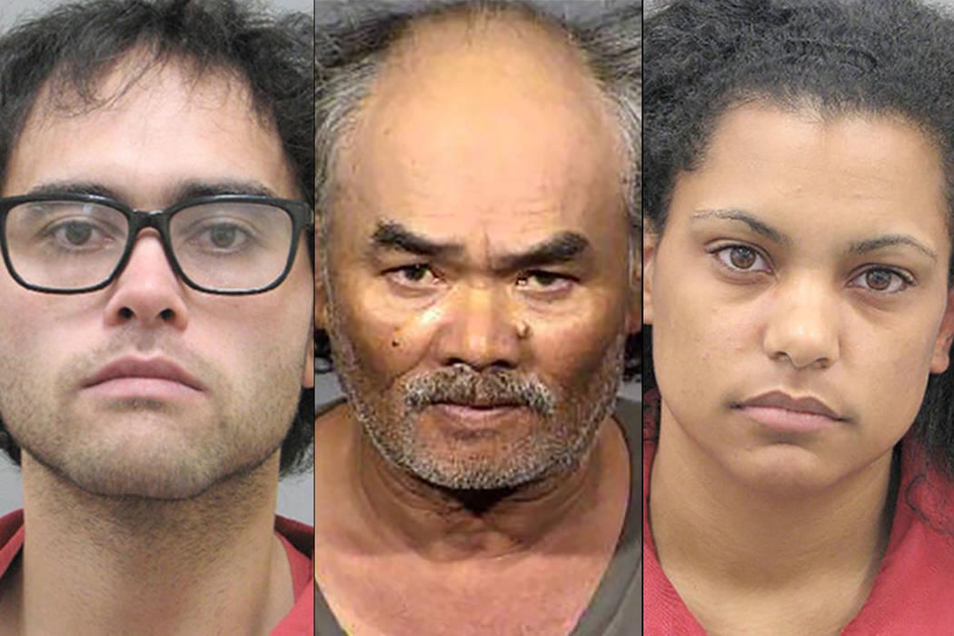 De izquierda a derecha: Samual Donesing, 28, Samlane Donesing, 58, y Jaemillah Eagans, 26 (Departamento de Policía Metropolitana de Las Vegas)