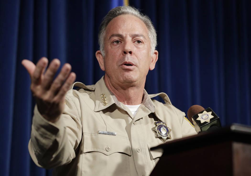 El alguacil del Condado de Clark, Joe Lombardo, habla durante una conferencia de prensa sobre el tiroteo del 1 de octubre el viernes 3 de agosto de 2018 en Las Vegas. Más de 10 meses después del ...