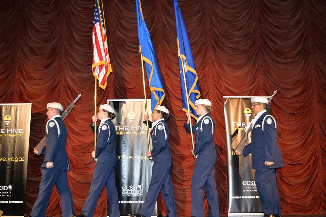 Palo Verde High School Air Force JROTC. Miércoles 1 de agosto de 2018, en el Texas Station. Foto Frank Alejandre / El Tiempo..