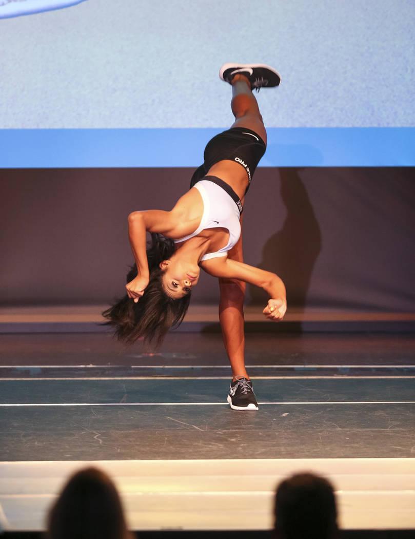 Noelani Mendoza durante su participación en vestimenta deportiva. Sábado 4 de agosto en el hotel y casino Sam's Town. Foto Richard Brian / Las Vegas Review-Journal.