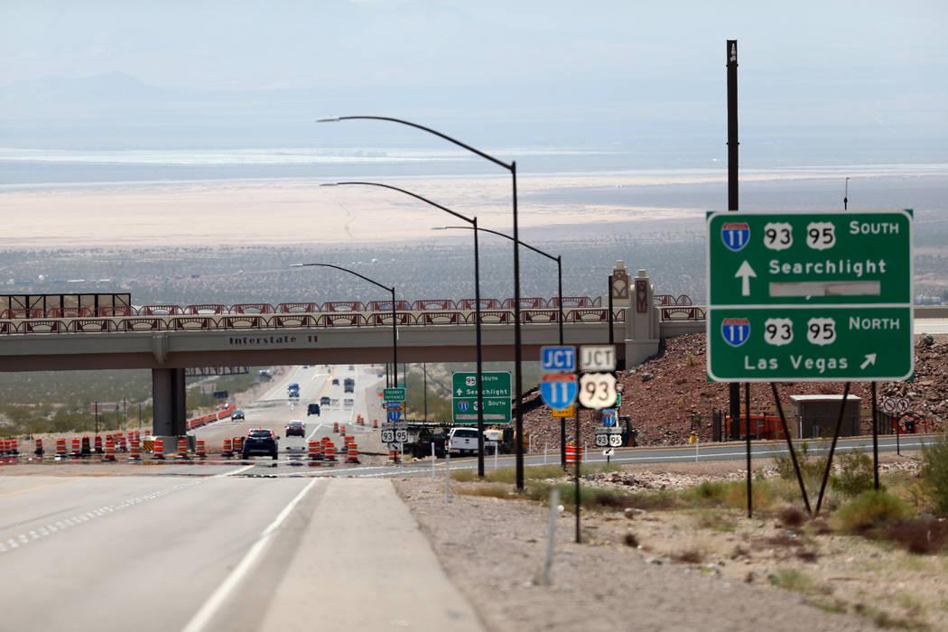 La Interestatal 11 cruza la autopista 95 de los Estados Unidos en Boulder City el miércoles 1 de agosto de 2018. K.M. Cannon Las Vegas Review-Journal @KMCannonPhoto