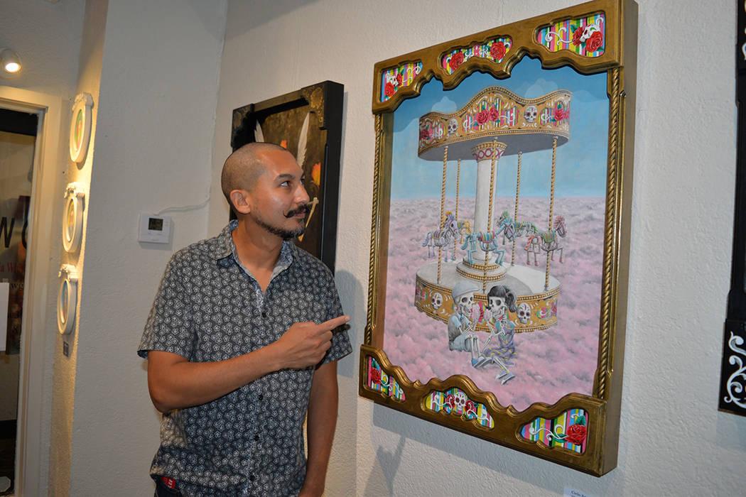 Eric Calvillo exhibió su trabajo, basado en calaveras. Viernes 3 de agosto de 2018 en el Centro Cultural de Artes. Foto Frank Alejandre / El Tiempo.