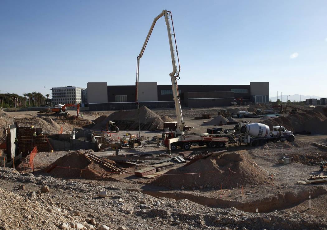 El sitio de construcción del nuevo Las Vegas Ballpark, jueves, 7 de junio de 2018, en Summerlin. (Bizuayehu Tesfaye / Las Vegas Review-Journal) @bizutesfaye