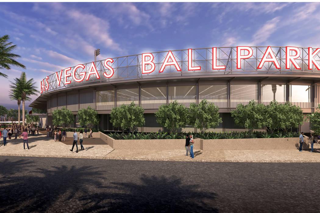 Representación del nuevo Las Vegas Ballpark en Summerlin que está programado para marzo de 2019. (Howard Hughes Corp.)