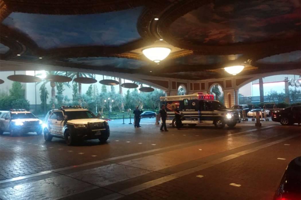La policía de Las Vegas está investigando un apuñalamiento reportado en la mañana del miércoles 8 de agosto de 2018 en el Palazzo en Las Vegas Strip. (Max Michor / Las Vegas Review-Journal)