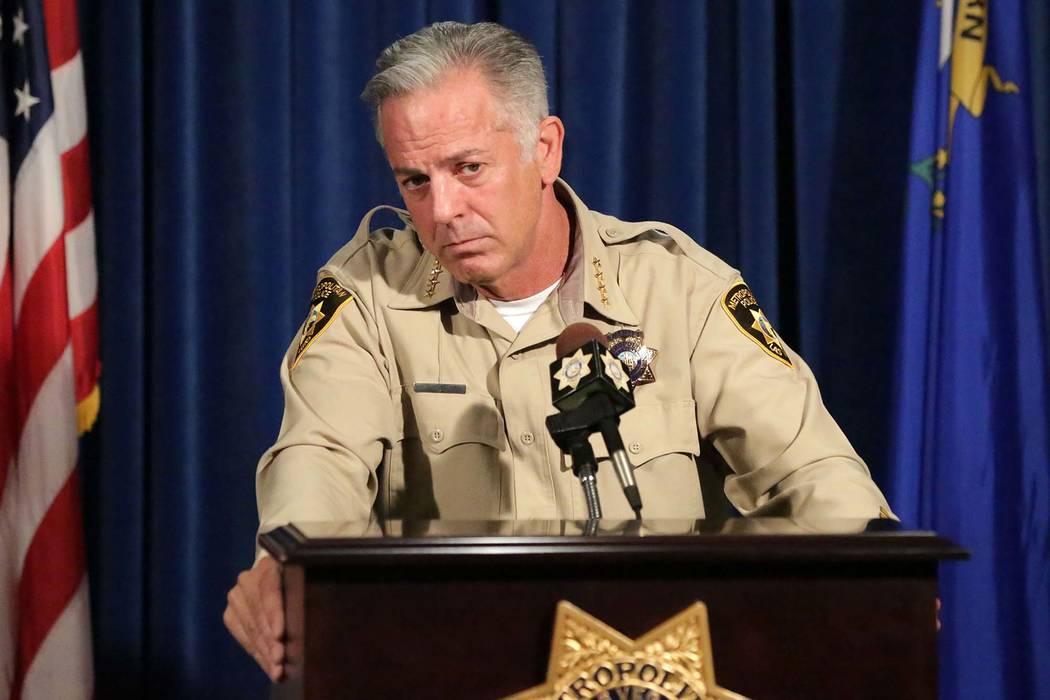 El alguacil del condado de Clark, Joe Lombardo, responde preguntas durante una conferencia de prensa el viernes 3 de agosto de 2018. (Michael Quine / Las Vegas Review-Journal) @ Vegas88s