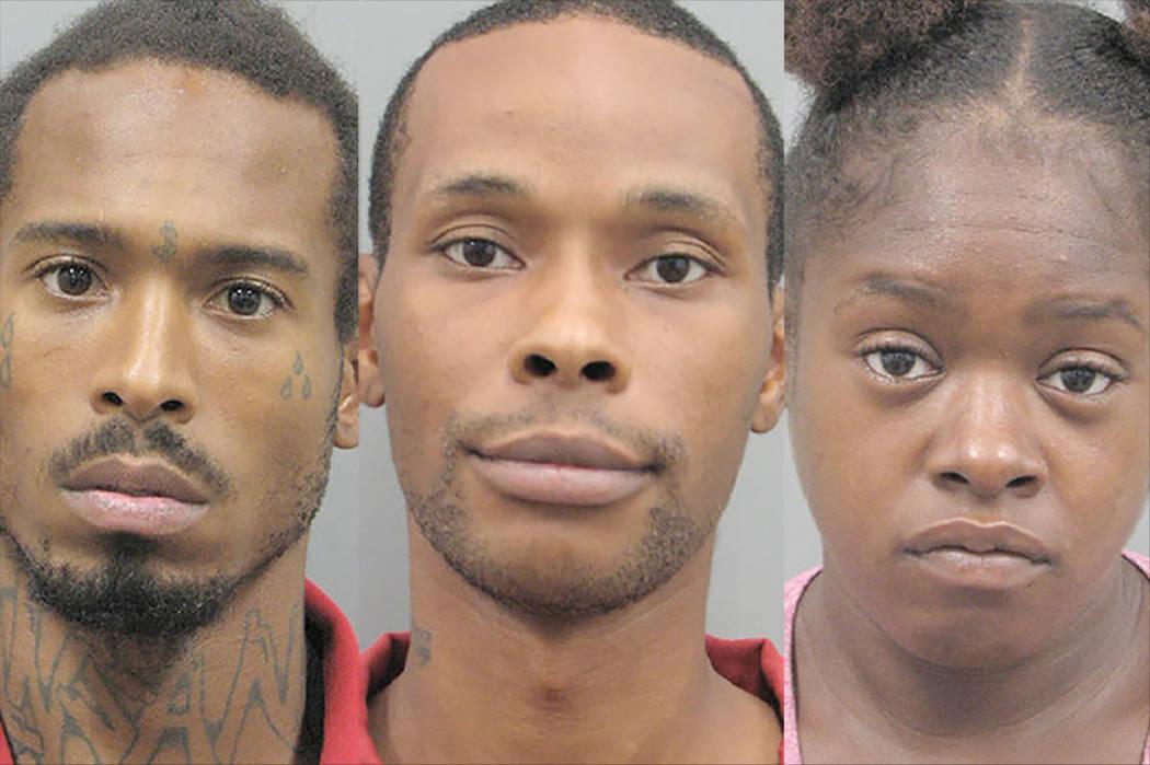 Anthony Barr, 28, izquierda, Damien Phillips, 29, y Sabrina Henderson, 30 (Departamento de Policía de Henderson)