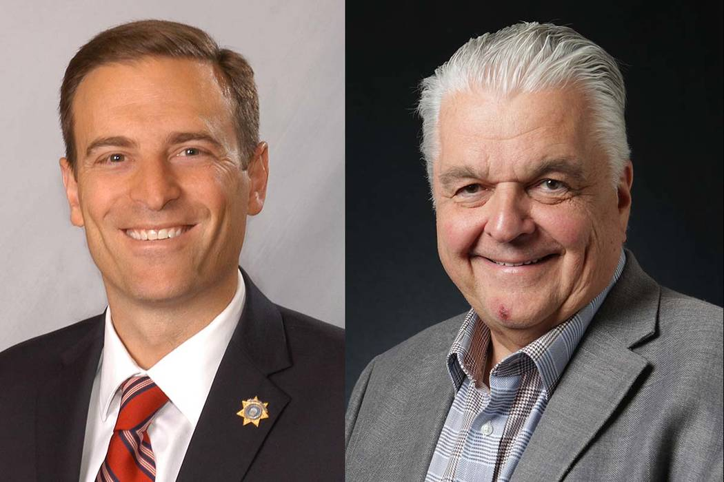 Candidatos a la gobernación de Nevada Adam Laxalt, izquierda, y Steve Sisolak (Las Vegas Review-Journal)
