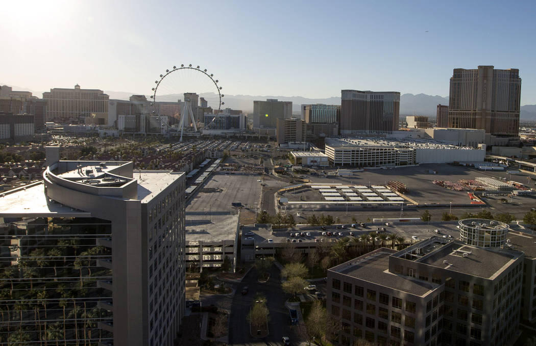 La ubicación propuesta para el nuevo MSG Sphere Arena de Madison Square Garden Co. en la esquina de South Koval Lane y Sand Avenue en Las Vegas. (Richard Brian / Las Vegas Review-Journal) @vegasp ...