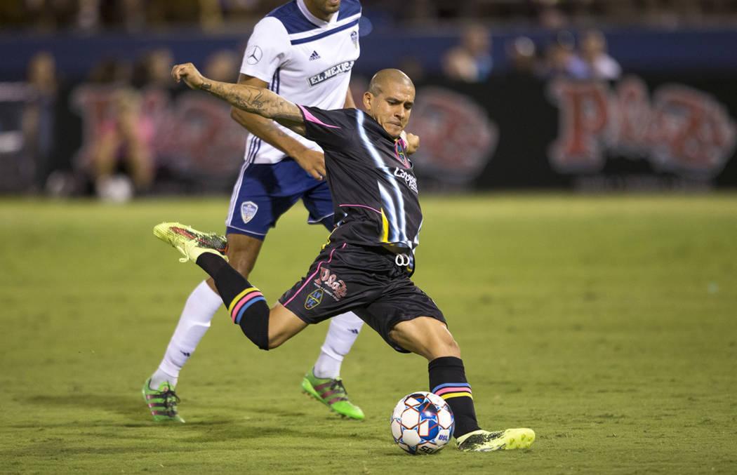 Las Vegas Lights FC y Fresno FC empataron a dos goles. Sábado 25 de agosto de 2018 en el estadio Cashman. Foto Richard Brian / Las Vegas Review-Journal.