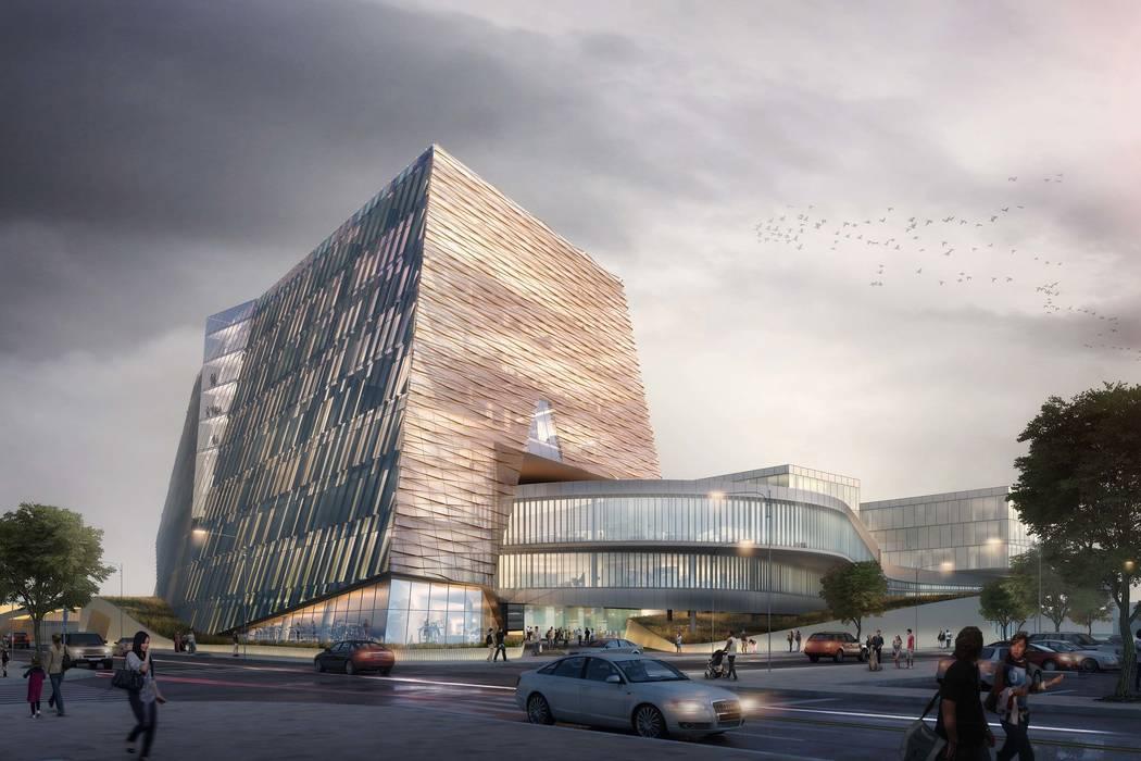 Representación arquitectónica preliminar para el edificio de la Facultad de Medicina de la UNLV. Representación cortesía UNLV.