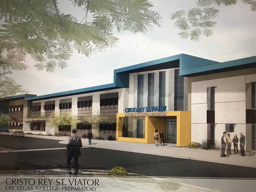 """Así luce en proyecto el frente de la escuela """"Cristo Rey St. Viator"""", que se construirá en North Las Vegas. Foto Cortesía."""
