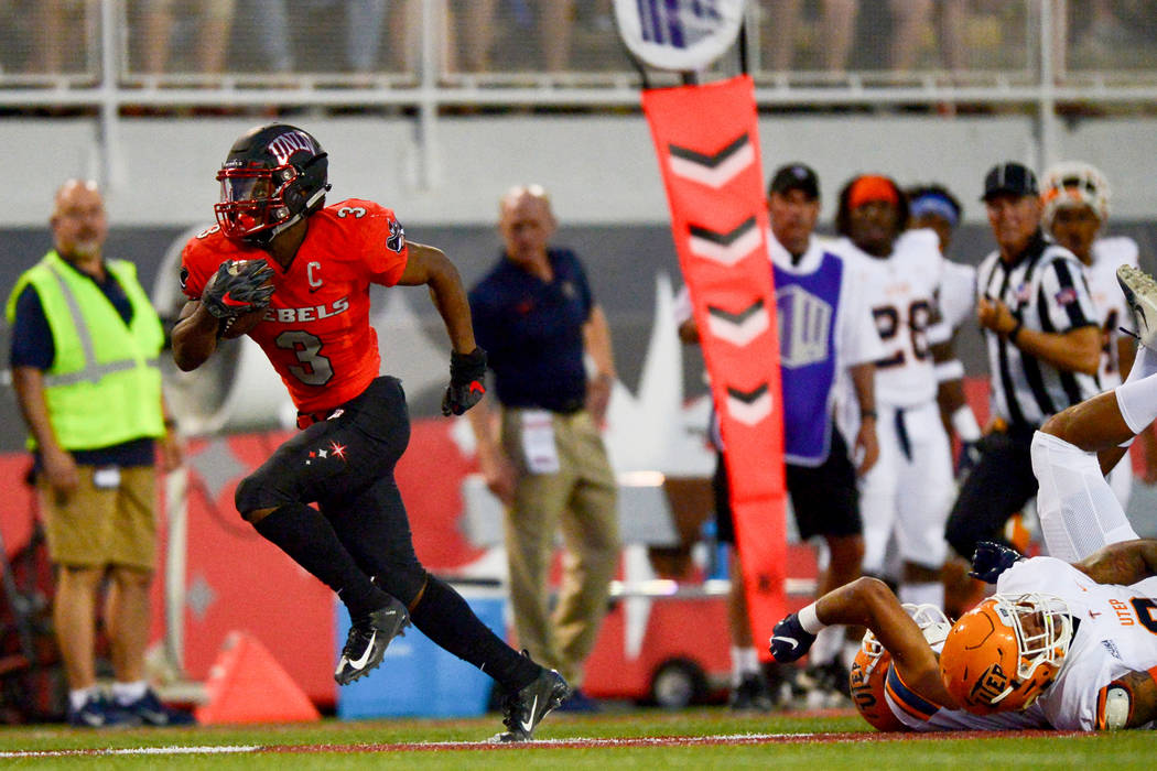 UNLV Rebels running back Lexington Thomas (3) watches himself on the jumbotron as he scores a 40-yard touchdown at Sam Boyd Stadium in Las Vegas on Saturday, Sept. 8, 2018. UNLV leads at halftime ...