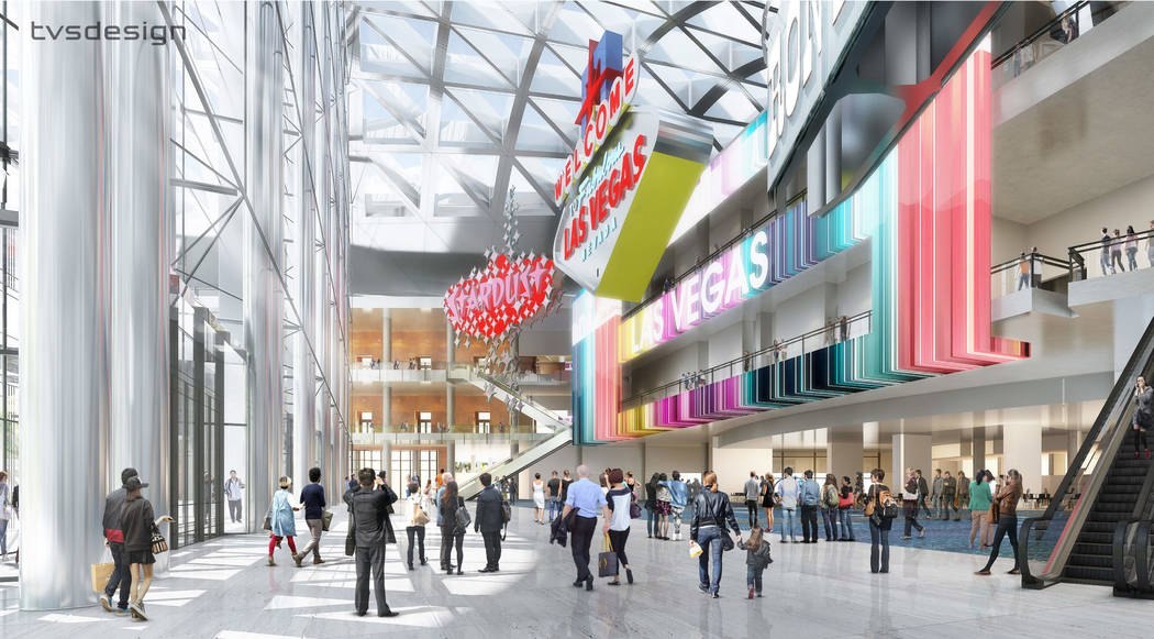 Atrio: una representación de diseño, lanzada el 10 de abril de 2018, que muestra cómo se espera que la Expansión de la Fase Dos del Distrito de Convenciones de Las Vegas se vea terminada. (tvs ...