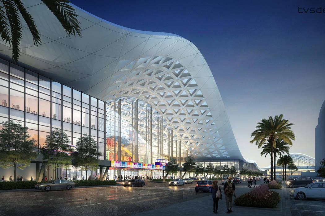 Una representación de diseño, lanzada el 10 de abril de 2018, que muestra cómo se espera que la Expansión de la Fase Dos del Distrito de Convenciones de Las Vegas se vea terminada. (tvsdesign ...