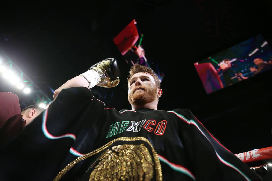 Saúl 'Canelo' Álvarez derrotó a Gennady 'GGG' Golovkin por decisión mayoritaria. Sábado 15 de septiembre del 2018. Foto Erik Verduzco / Las Vegas Review-Journal.