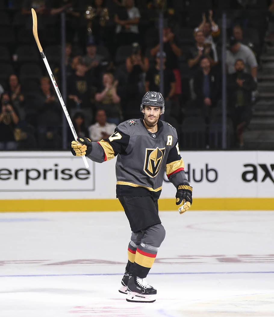 El nuevo jugador de Vegas Golden Knights, Max Pacioretty, se estrenó con un gol y una asistencia. Domingo 16 de septiembre de 2019 en T-Mobile Arena. Foto Chase Stevens / Las Vegas Review-Journal.