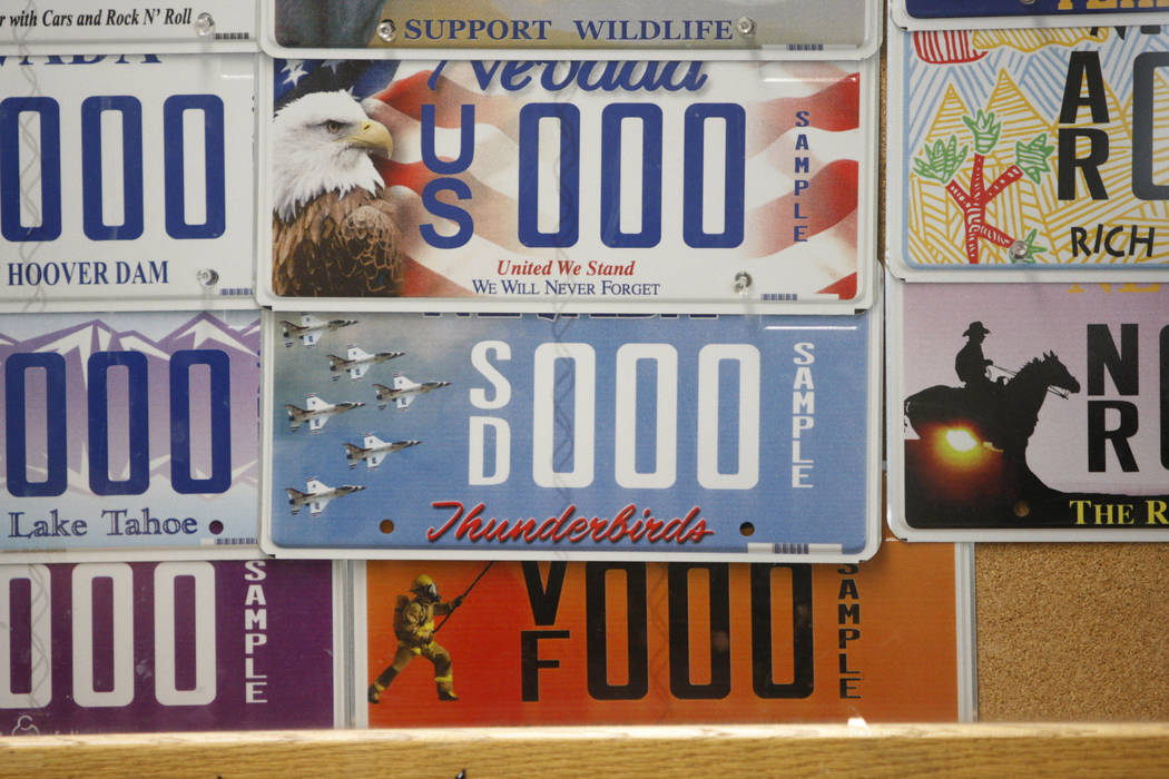 Las matrículas especiales decoran la pared en el DMV, 2701 E. Sahara Ave., en Las Vegas. (Erik Verduzco / Las Vegas Review-Journal)