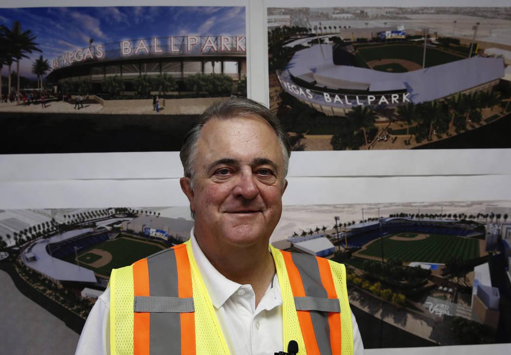 El presidente de Las Vegas 51s, Don Logan, posa para una foto en el sitio del nuevo estadio de béisbol 51 el martes 19 de junio de 2018 en Las Vegas. Bizuayehu Tesfaye / Las Vegas Review-Journal ...