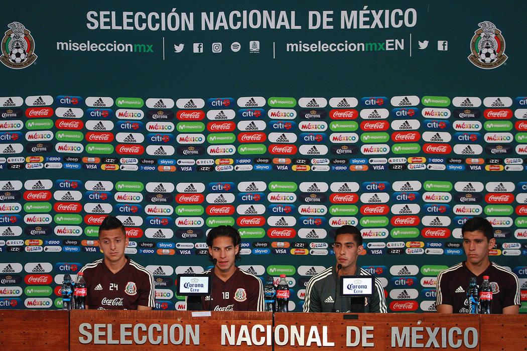México, 4 Sep 2018 (Notimex-Francisco Estrada).- Los integrantes de la selección mexicana de futbol, Roberto Alvarado, Diego Lainez, Erick Aguirre y Jesús Angulo, hablaron en conferencia de pre ...